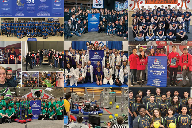 A collection of photos of the robotics teams with their robots.